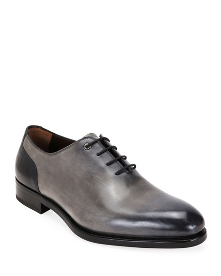 Salvatore Ferragamo Men's Barclay Burnished Leather Oxford Shoes