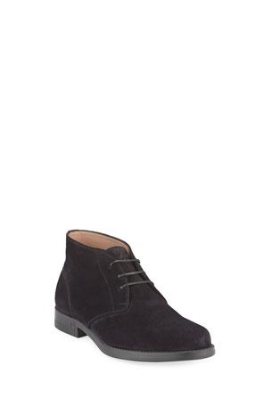 Salvatore Ferragamo Men's Sachie-2 Lightweight Suede Chukka Boots
