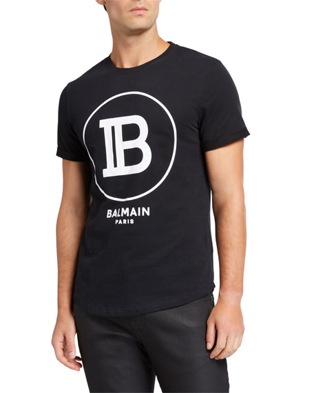 Balmain Men's Circle Logo Crewneck T-Shirt