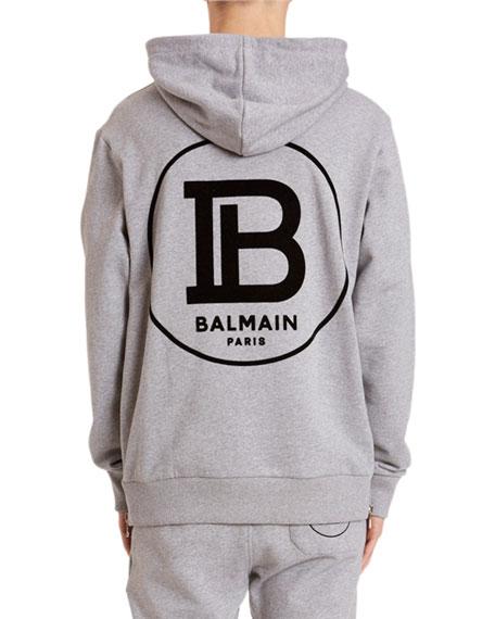 Balmain Men's Logo-Graphic Side-Zip Hoodie