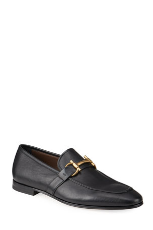 Salvatore Ferragamo Men's Sherman Gancini Leather Loafers