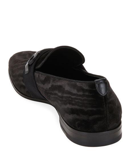 Salvatore Ferragamo Men's Schwartz Velvet Wood-Pattern Gancini Loafers