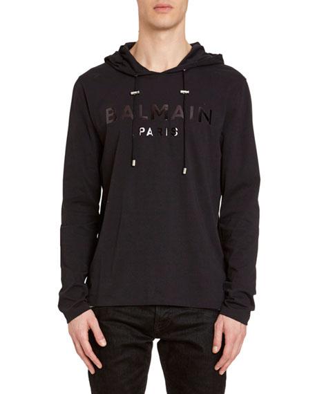 Balmain Men's Tonal Logo Hooded T-Shirt