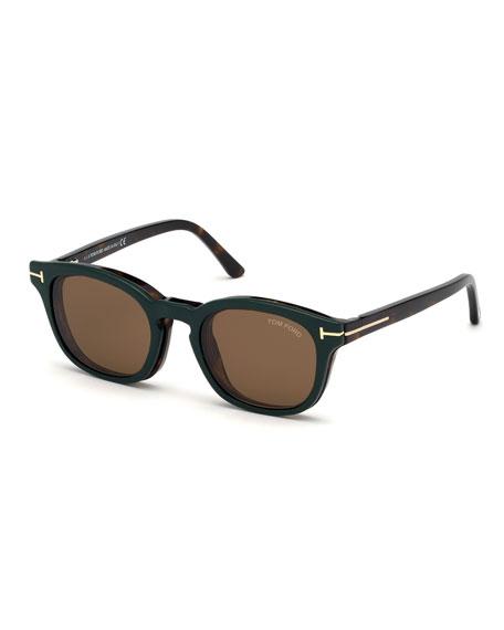 TOM FORD Men's Havana Optical Glasses w/ Magnetic Clip-On Sun Lenses