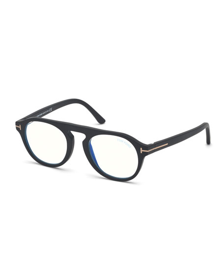 TOM FORD Men's Oval Blue Block Optical Glasses w/ Magnetic Clip-On Sun Lenses