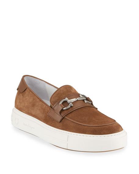 Salvatore Ferragamo Men's Saturday Suede Gancini Loafer Sneakers, Brown
