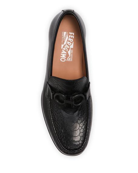 Salvatore Ferragamo Men's Rolo 6 Gancini Loafers w/ Ostrich Leather