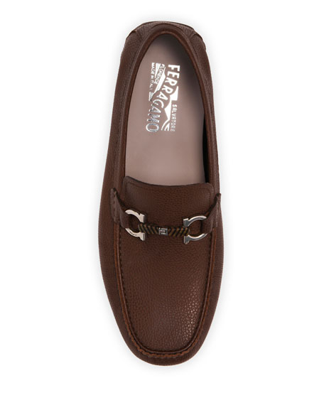 Image 2 of 4: Salvatore Ferragamo Men's Salamanca 2 Leather Wood-Bit Drivers