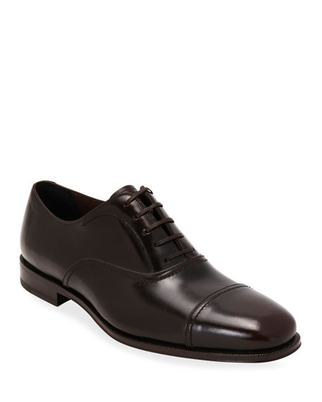 Salvatore Ferragamo Men's Calfskin Cap-Toe Oxfords