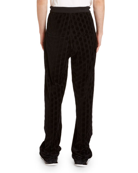 Image 2 of 3: Balmain Men's Monogram Velvet Sweatpants