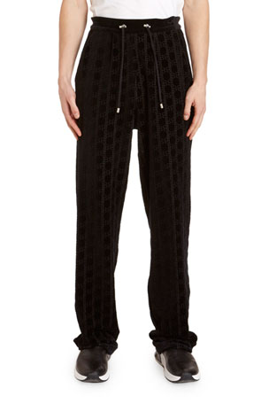 Balmain Men's Monogram Velvet Sweatpants