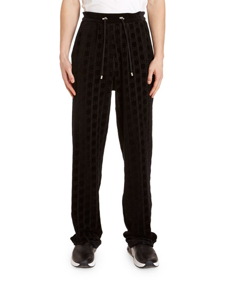 Image 1 of 3: Balmain Men's Monogram Velvet Sweatpants