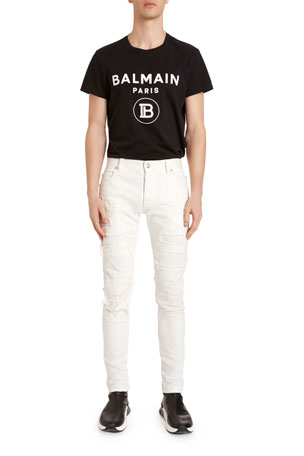 Balmain Men's Destroyed Slim-Leg Jeans