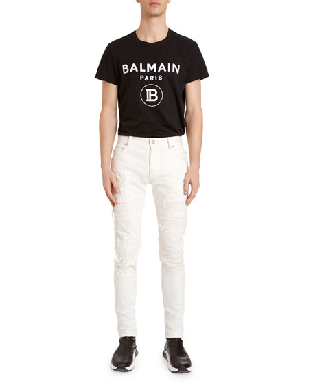 Balmain Men's Destroyed Slim-Leg Jeans
