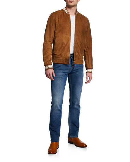 Stefano Ricci Men's Straight-Leg Light-Wash Jeans