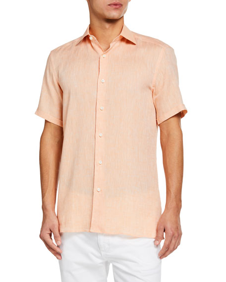 Ermenegildo Zegna Men's Solid Linen Short-Sleeve Sport Shirt
