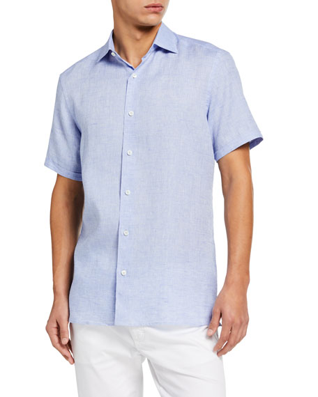 Image 1 of 2: Ermenegildo Zegna Men's Solid Linen Regular-Fit Sport Shirt