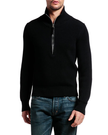 TOM FORD Men's Quarter-Zip Wool Sweater