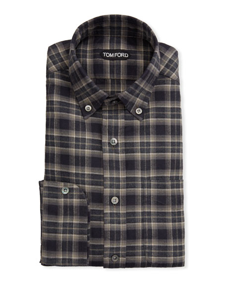 TOM FORD Men's Tartan Plaid Dress Shirt