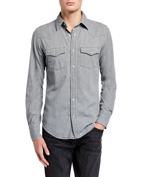 TOM FORD Men's Western Denim Sport Shirt