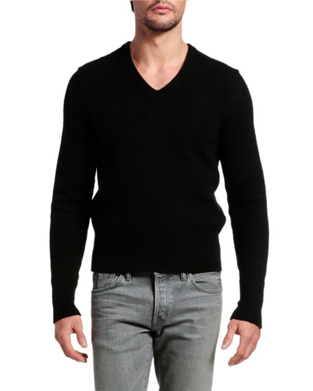 TOM FORD Men's Solid V-Neck Cashmere-Wool Knit Sweater