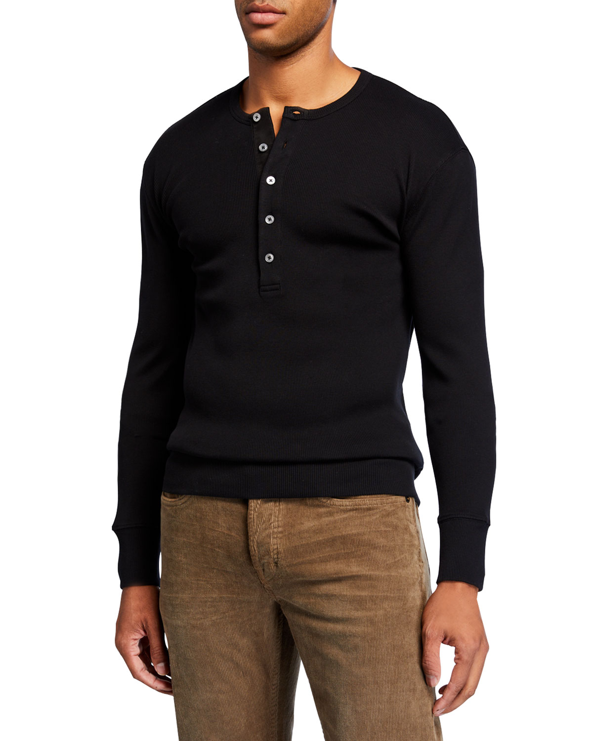 Men's Long Sleeve Cotton Henley Shirt by Tom Ford