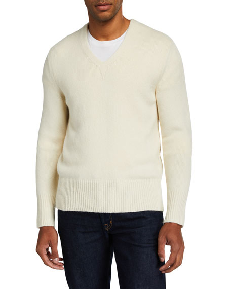 TOM FORD Men's Solid V-Neck Cashmere-Wool Knit Sweater