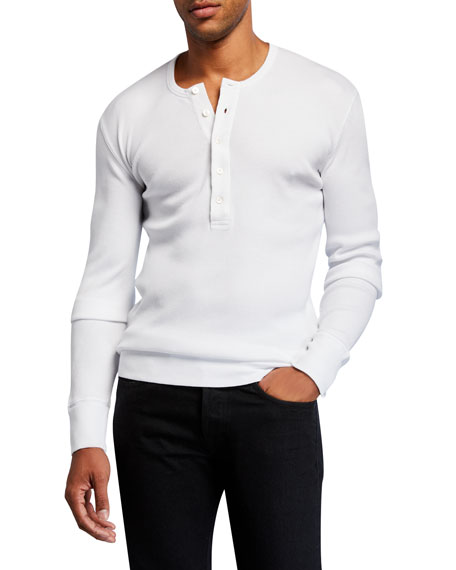 TOM FORD Men's Solid Cotton Henley Shirt