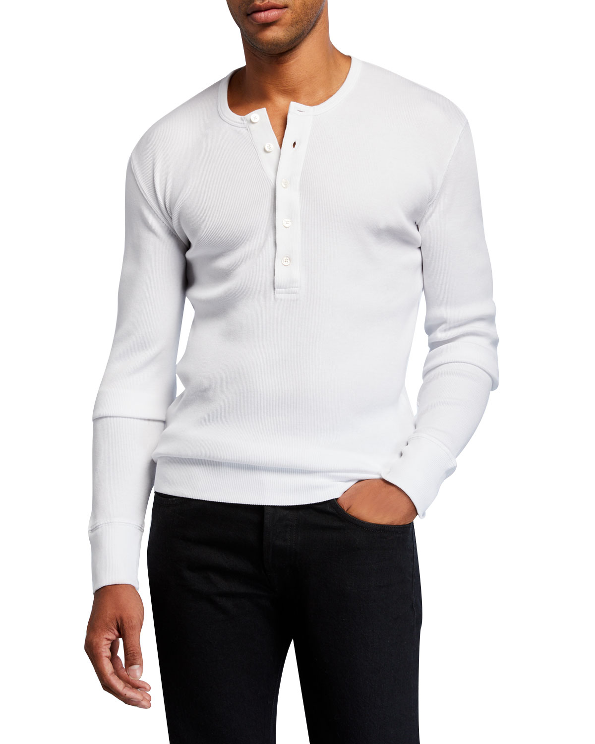 Men's Solid Cotton Henley Shirt by Tom Ford