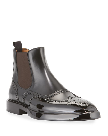 Burberry Brogue Chelsea Boots with Rubber Toe Cap