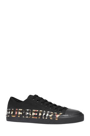 Burberry Men's Larkhall Low-Top Sneakers with Vintage Check Logo