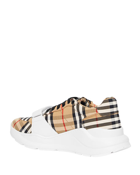 Burberry Men's Chunky Vintage Check Sneakers with Grip Strap