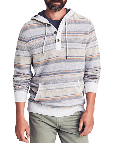 Faherty Men's Campfire Striped Pullover Hoodie