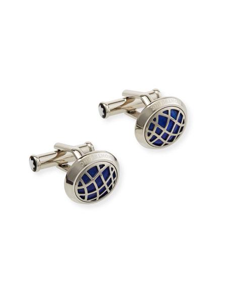 Montblanc Men's Lapis Lazuli Round Steel Cufflinks
