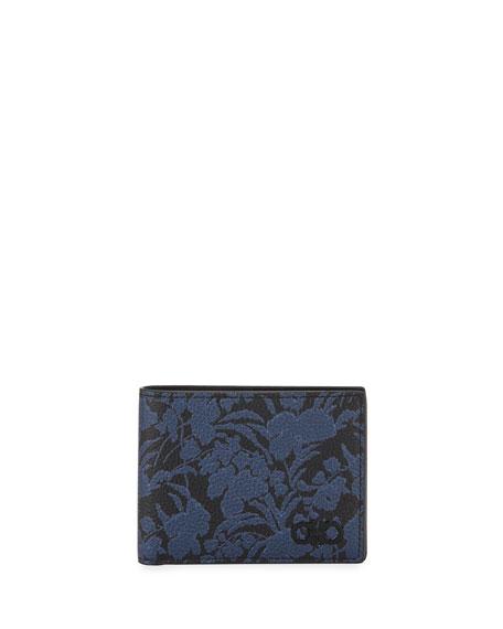 Salvatore Ferragamo Men's Floral-Print Leather Wallet