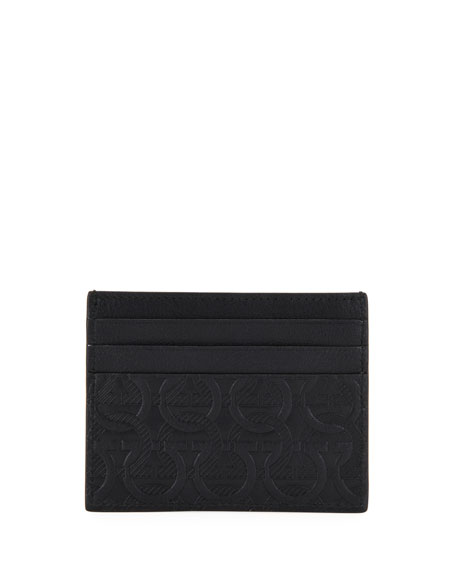 Salvatore Ferragamo Men's Gancini-Print Leather Card Case