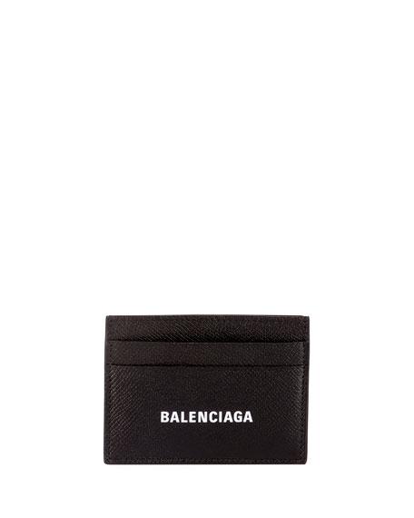 Balenciaga Men's Logo-Print Leather Card Case