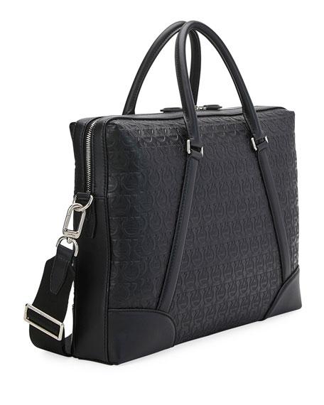 Salvatore Ferragamo Men's Gancini-Embossed Leather Briefcase