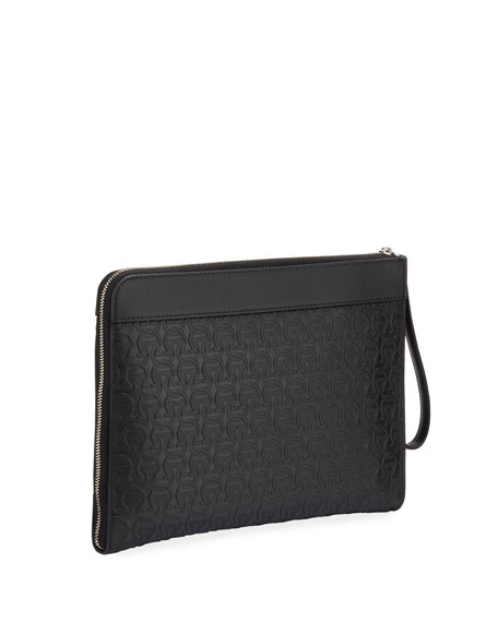 Salvatore Ferragamo Men's Gancini Leather Wristlet Pouch