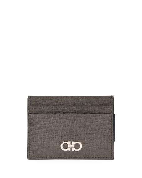 Salvatore Ferragamo Men's Cement Leather Card Case