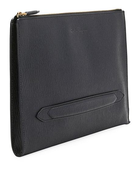 Salvatore Ferragamo Men's Textured Leather Portfolio Briefcase