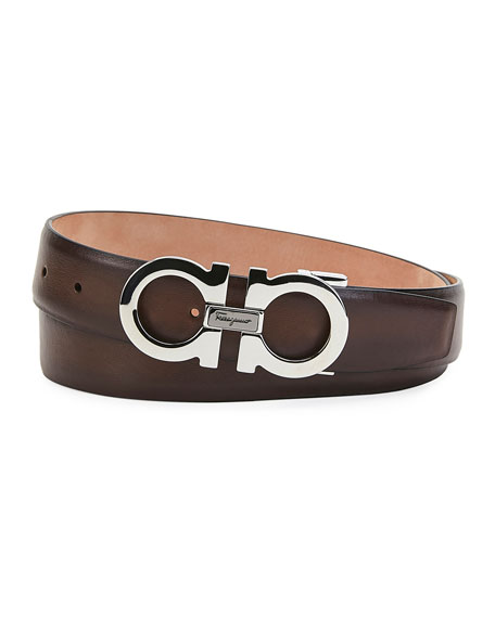 Salvatore Ferragamo Belt Men's Gancini Smooth Leather Belt