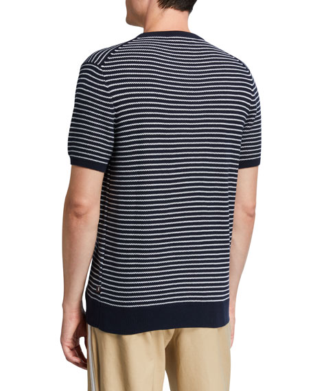 Image 2 of 2: Michael Kors Men's Striped Short-Sleeve Luxe Cotton Sweater