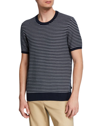Men's Striped Short-Sleeve Luxe Cotton Sweater