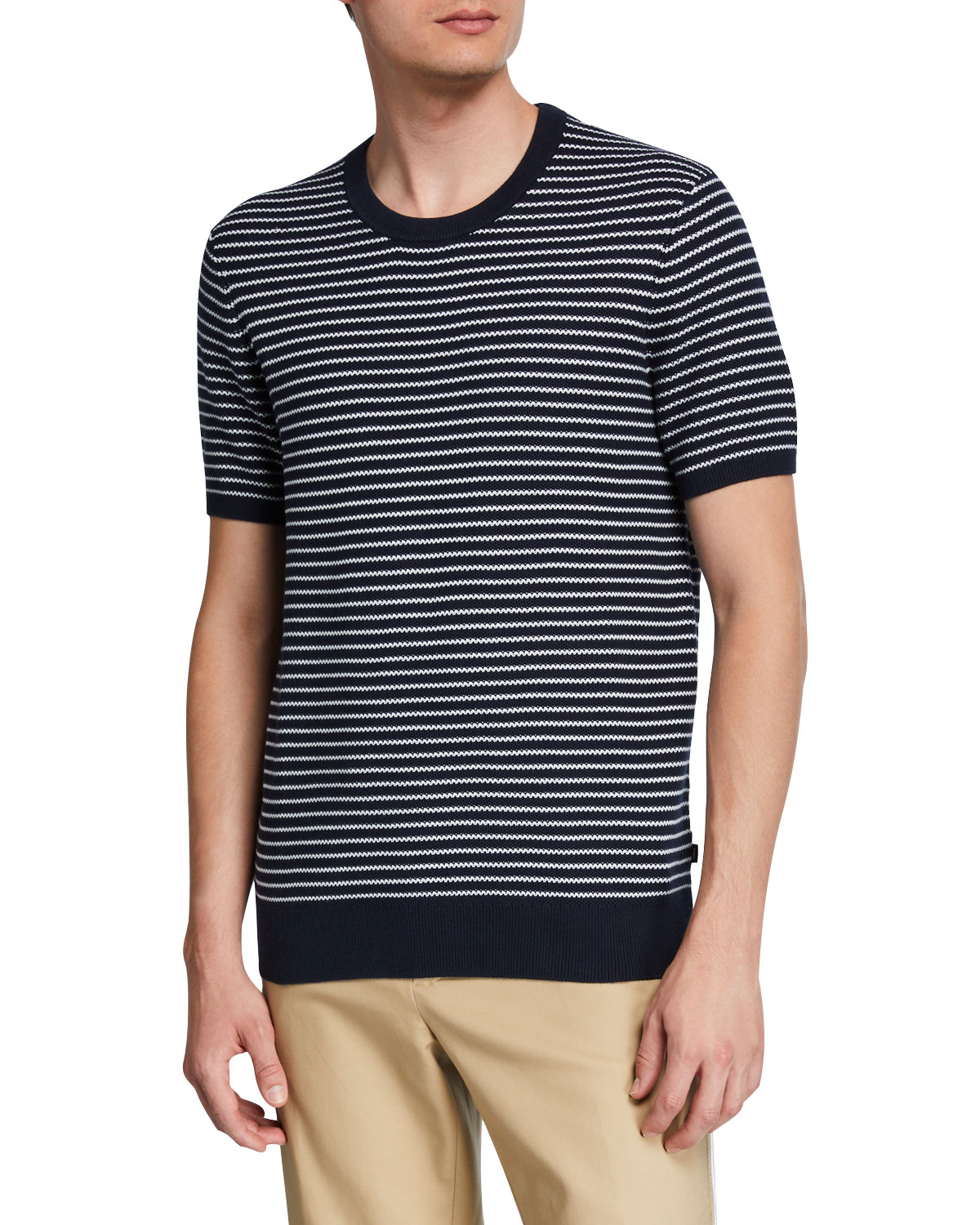 Michael Kors Men's Striped Short-Sleeve Luxe Cotton Sweater