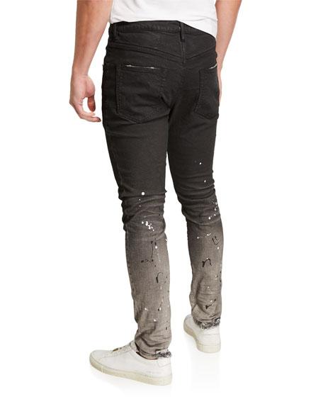 PURPLE Men's Slim Two-Tone Jeans with Paint Splatter