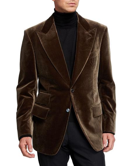 TOM FORD Men's Windsor Peak-Lapel Velvet Jacket