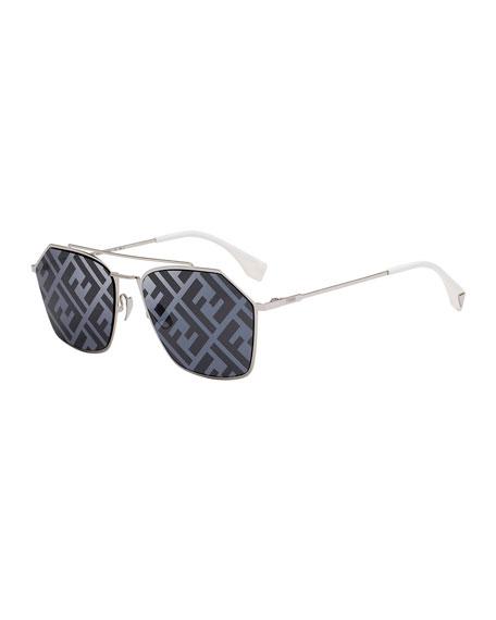 Fendi Men's 56mm FF Logo-Monogram Geometric Metal Sunglasses