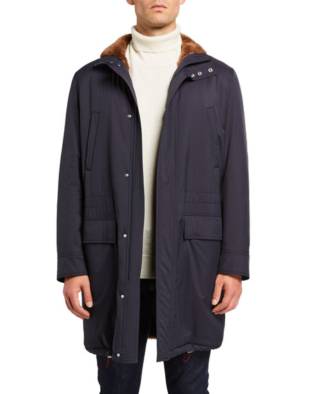 Brunello Cucinelli Coats Men's Shearling-Lined Coat w/ Removable Hood