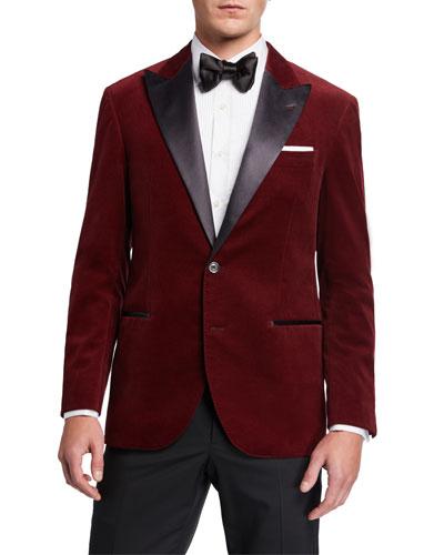 Men's Peak-Lapel Velvet Dinner Jacket